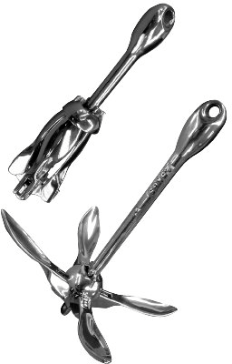 Folding Grapnel Anchor Mirror Polished